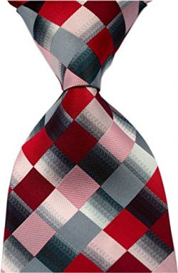 Secdtie Men's Classic Checks Purple Grey Jacquard Woven Silk Tie Necktie Red Grey