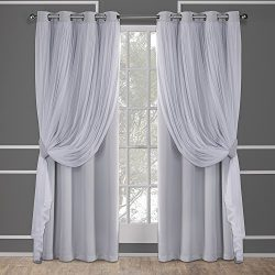 Exclusive Home Catarina Layered Solid Blackout and Sheer Window Curtain Panel Pair with Grommet  ...