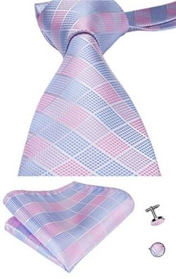 Hi-Tie Mens Pink Plaid Checks Jacquard Woven Silk Tie Necktie Set