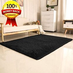 SANMU Soft Velvet Silk Area Rugs,Simple Style Shaggy Carpet Fashion Color Bedroom Mat for Girls  ...