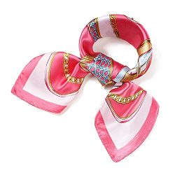 QBSM Womens Fashion Large Square Satin Silk Neck Head Hair Scarf Wraps Neckerchief for Sleeping  ...
