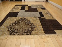 Luxury Silk Area Rugs 5×8 Modern Rug For Living Room Black Brown Beige Cream Gray 5×7  ...