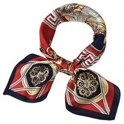 corciova Women 100% Mulberry Silk Neck Scarf Small Square Scarves Neckerchiefs Lust Lion Design