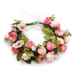 DreamLily Blush Rose Flower Crown Headband Woodland Handcrafted Wedding Hair Wreath BC47 (Blush  ...