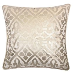 Homey Cozy Foil Applique Ivory Throw Pillow Cover,Gold Series Vintage Godines Luxury Silk Blush  ...
