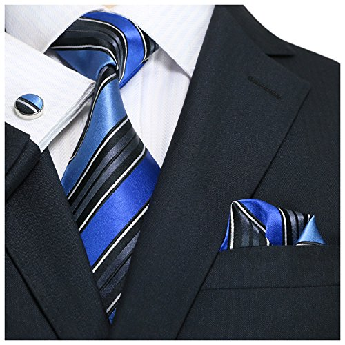 Landisun SILK Stripes Mens SILK Tie Set: Necktie+Hanky+Cufflinks 69H Black Blue, 3.75″Wx59 ...