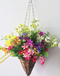 Lopkey Lifelike Artificial Daisy Flowers Outdoor Silk Daisy Indoor Patio Lawn Garden Mini Hangin ...