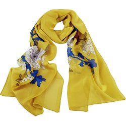 Silk Scarf Women, IRRANI silk scarf long and thin 100% silk (yellow1)