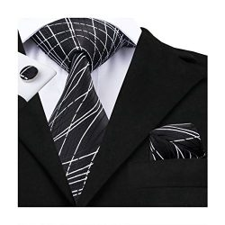 Hi-Tie New Classic Black Novelty Woven Silk Tie Hanky Cufflinks set