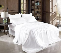 Hight Thread Count Solid Color Soft Silky Charmeuse Satin Luxury and Super Soft Bed Sheet Set (W ...