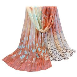 Scarf,Han Shi Women Vintage Printed Silk Soft Shawl Wrap Long Chiffon Voile Scarves (L, Coffee)