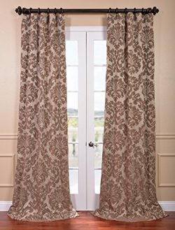 Half Price Drapes JQCH-201266-96 Astoria Faux Silk Jacquard Curtain, Taupe & Mushroom, 50 x 96