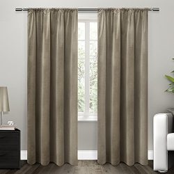 Exclusive Home Curtains Cotton Velvet with Blackout Lining Rod Pocket Window Curtain Panel with  ...