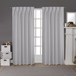 Exclusive Home Curtains Sateen Pinch Pleat Woven Blackout Back Tab Window Curtain Panel Pair, Si ...