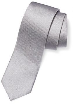 Buttoned Down Men's 100% Silk Necktie, Silver Texture, Regular