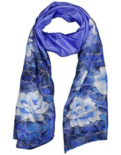 INVISIBLE WORLD Womens 100% Mulberry Silk Hand Painted Rose Scarf-Celestial Blue