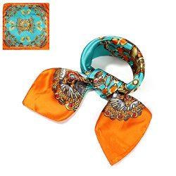 QBSM Womens Fashion Pattern Large Square Satin Silk Neck Head Hair Scarf Wraps Neckerchief for S ...