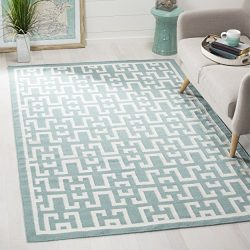 Safavieh Dhurries Collection DHU621A Hand Woven Seafoam and Ivory Premium Wool Area Rug (5′ ...