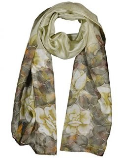 INVISIBLE WORLD Women's 100% Mulberry Silk Scarf Hand Painted Roses-Tan