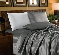 Chezmoi Collection 4-piece Bridal Satin Solid Color Sheet Set (Full, Gray)