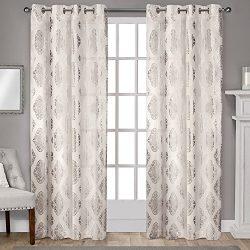 Exclusive Home Augustus Metallic Light Filtering Window Curtain Panel Pair with Grommet Top, Off ...
