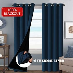 H.VERSAILTEX 100% Blackout (2 Panels) Solid Navy Curtains Extra Long Patio Curtain Panels Faux S ...