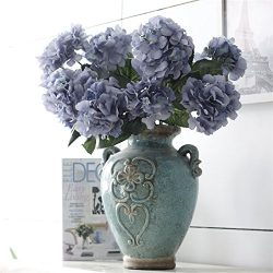 Crt Gucy Artificial Flowers 18″ Silk 6 Big Heads Fake Silk Hydrangea Bouquet for Wedding,  ...