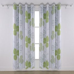 Deconovo Leaf Printed Blackout Curtains Blackout Curtain Darkroom Blackout Curtain Panels with G ...