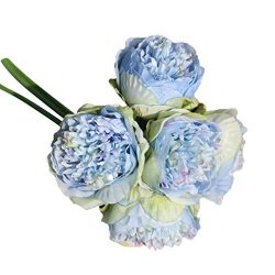 ChainSee 5 Head Artificial Silk Peony Flowers Bridal Bouquet Home Wedding Decor (D)