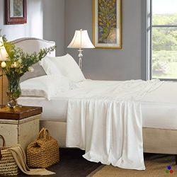 ElleSilk Pure Mulberry Silk Flat Sheet, Silk Bed Sheet, Premium Quality 100% Mulberry Silk, 22 M ...