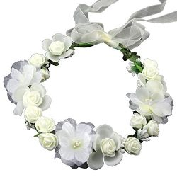 Flower Crown Floral Headband Headpiece Wreath Girls Womens Artificial White Silk Roses Wedding B ...