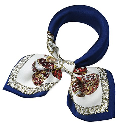 100% Real Mulberry Silk 21″ Women's Square Scarfs Scarves Saint Patrick Blue and Whi ...
