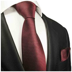Burgundy Silk Men's Tie and Pocket Square by Paul Malone