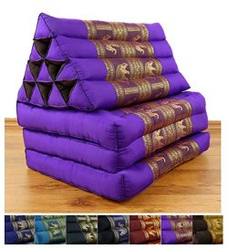 3 Fold Thai Cushion, 67x20x3 inches (LxWxH), Silk Look, 100 % Natural Kapok Filling, Foldable Th ...