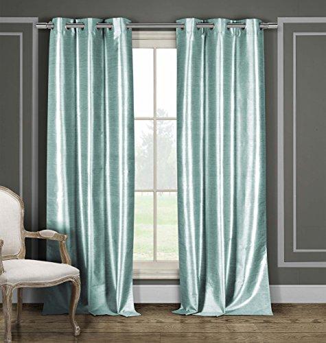 Faux Silk Grommet Top Window Curtain