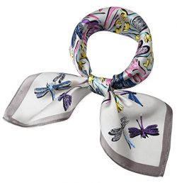 100% Real Mulberry Silk 21″ Women's Square Scarfs Scarves Light Grey Dragonfly Pattern