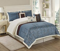 7 Piece Vienna Embroideried Comforter Set Queen King CalKing Size (Queen, Blue)