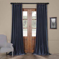 Half Price Drapes Pdch-HANB89-84 Yarn Dyed Faux Dupioni Silk Curtain, 50 x 84, Egyptian Blue