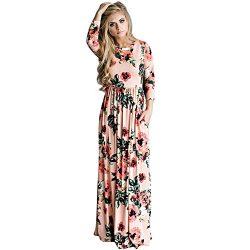 OPSLEA Women Floral Print Long Sleeve Boho Dress Silk Elegant Long Maxi Dress