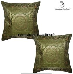 Ganesham Handicraft – Handmade Silk Brocade Home Decor Mandala Cushion Cover India Decor,  ...