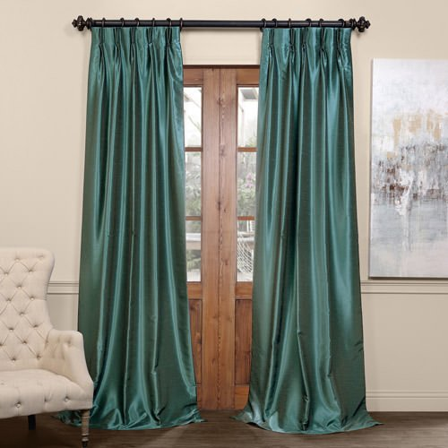Half Price Drapes PDCH-KBS14BO-96-FP Pleated Blackout Vintage Textured Faux Dupioni Silk Curtain ...