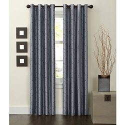 Maytex Jardin Thermal Blackout Room Darkening Faux Silk Embroidered Grommet Window Curtain, 54 i ...
