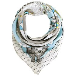"Silk Scarf Women, 100% Silk Pure Mulberry for Women Square Wrap 35""x35"" (blue7)"