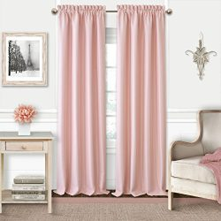 Elrene Adaline Kids Pastel Faux Silk Solid Color Blackout Room Darkening Thermal Insulating Wind ...