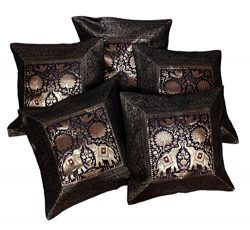 Amazing India 5 Elephant Embroidered Silk Banarasi Brocade Work Cushion Covers 16X16 Inches Black