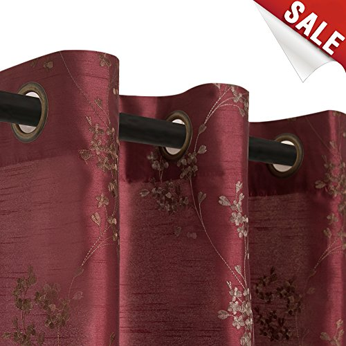 Faux Silk Floral Embroidered Grommet Top Curtains for Bedroom Embroidery Curtain for Living Room ...