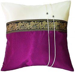 Artiwa Plum Purple Throw Decorative Silk Pillow Case Thai Elephants 16″x16″ Cushions ...