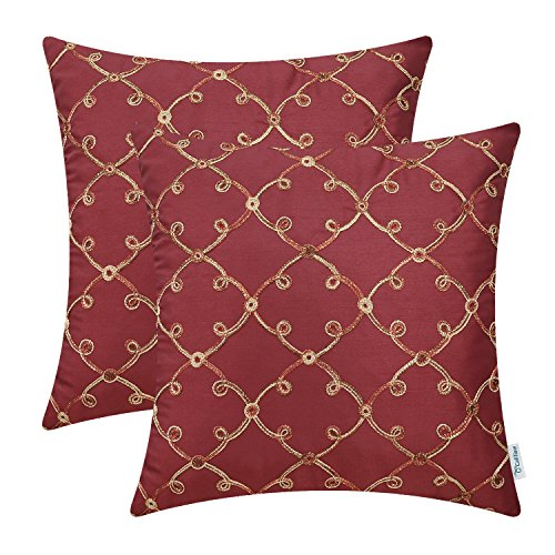 CaliTime Pack of 2 Faux Silk Throw Pillow Covers Cases for Home Sofa Couch 18 X 18 Inches, Gradi ...