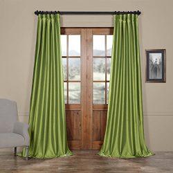 Half Price Drapes PTCH-JTSP100-84 Faux Silk Taffeta Curtain, Fern
