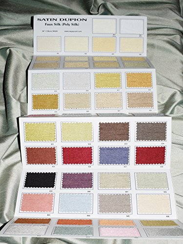 New Faux Silk Satin Dupioni Color Card, Big Size 54 Real Fabric Swatches.